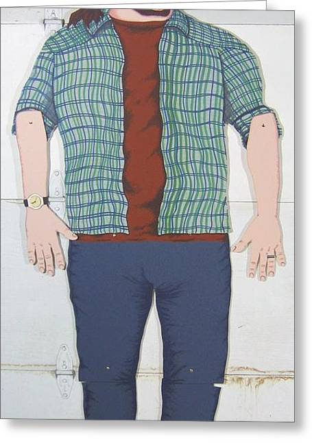 Full Body Mixed Media Greeting Cards - Self Portrait in Full Scale Greeting Card by Mack Galixtar