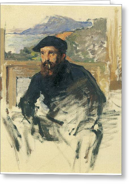 Self-portrait Greeting Cards - Self-Portrait in His Atelier Greeting Card by Claude Monet