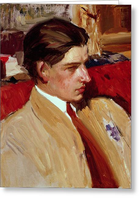 Youthful Greeting Cards - Self Portrait in Profile Greeting Card by Joaquin Sorolla y Bastida