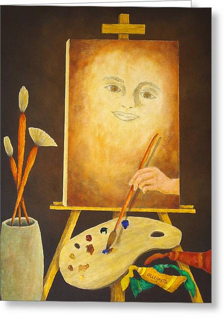 Sienna Greeting Cards - Self-Portrait In Progress Greeting Card by Pamela Allegretto