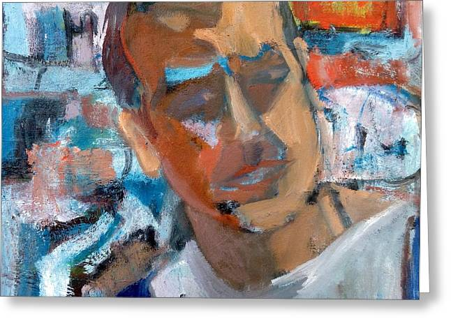 Pallet Knife Greeting Cards - Self Portrait In Studio Greeting Card by Chris Easley