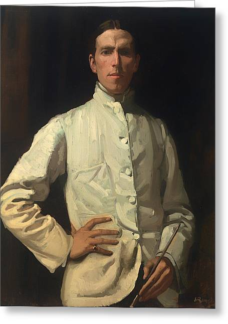 Vintage Painter Greeting Cards - Self Portrait in White Jacket Greeting Card by Hugh Ramsay