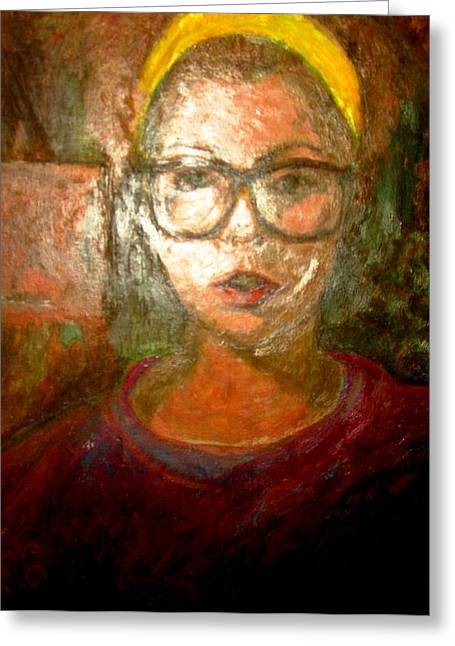 Burgundy Drawings Greeting Cards - Self Portrait in Yellow Headband Greeting Card by Anita Dale Livaditis