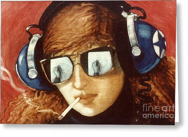 Headphones Greeting Cards - Self Portrait Greeting Card by Jane Whiting Chrzanoska