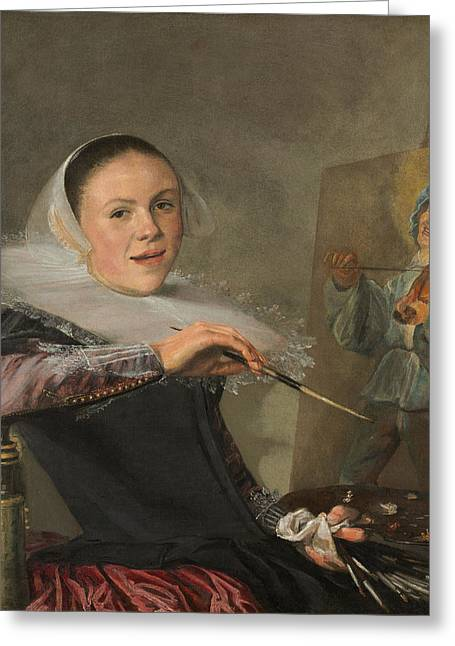 Self-portrait Greeting Cards - Self-portrait Judith Leyster  Greeting Card by Celestial Images
