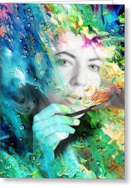 Visionary Artist Greeting Cards - Self Portrait Greeting Card by Kd Neeley