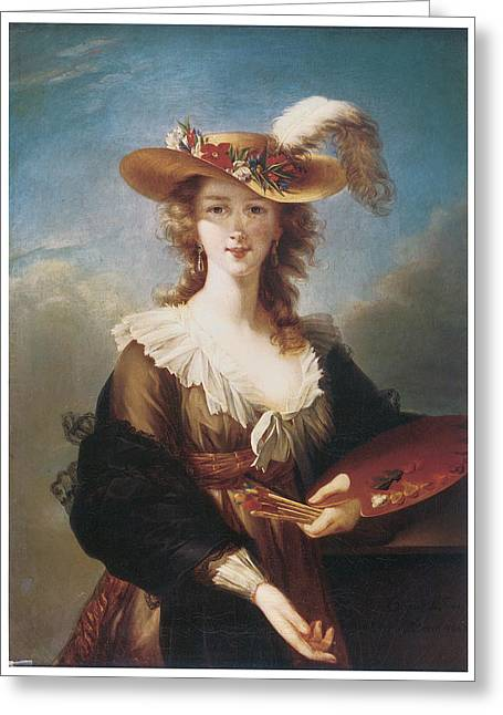 Marie-louise Greeting Cards - Self Portrait Greeting Card by Marie Louise Elisabeth Vigee-Lebrun