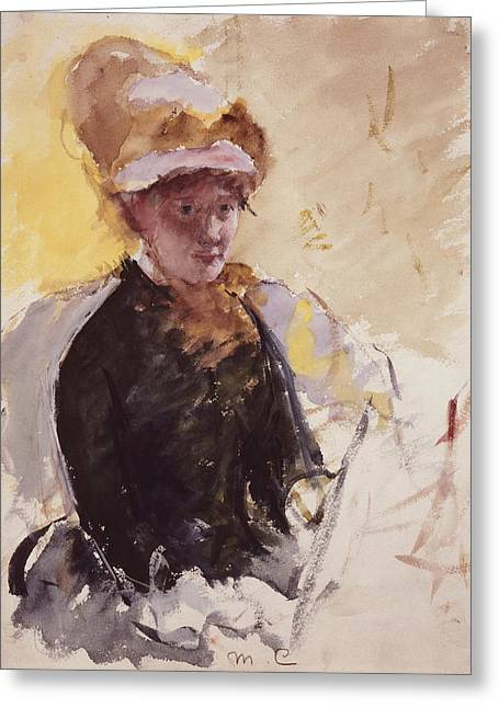 Self-portrait Greeting Cards - Self Portrait Greeting Card by Mary Cassatt