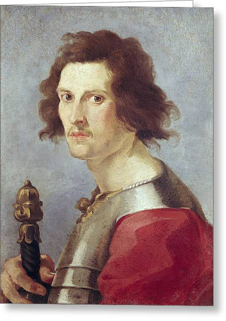 Breastplate Greeting Cards - Self Portrait Oil On Canvas Greeting Card by Gian Lorenzo Bernini