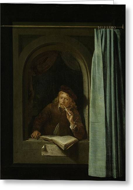 Smoking Book Greeting Cards - Self Portrait Oil On Panel Greeting Card by Gerrit or Gerard Dou