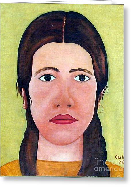 Olive Skin Greeting Cards - Self-Portrait 1980 Greeting Card by Carla Jo Bryant