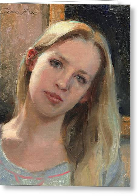 Self Portrait Paintings Greeting Cards - Self Portrait on a Saturday Greeting Card by Anna Bain