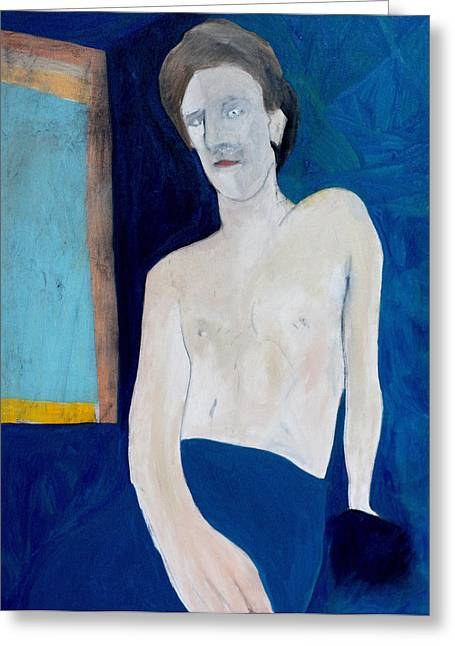 Expressionist Greeting Cards - Self-portrait on Blue Greeting Card by Anon Artist
