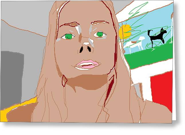 Olive Skin Greeting Cards - Self Portrait on Computer Greeting Card by Anita Dale Livaditis