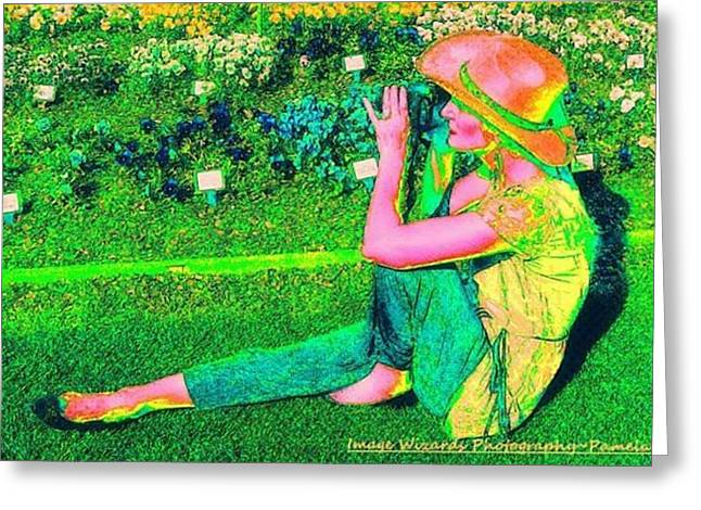 Self Portrait On The Arboretum Grounds In Spring Greeting Card by ARTography by Pamela Smale Williams