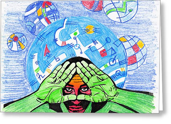 Macrocosm Pastels Greeting Cards - Self-Portrait Greeting Card by Peter Hermes Furian
