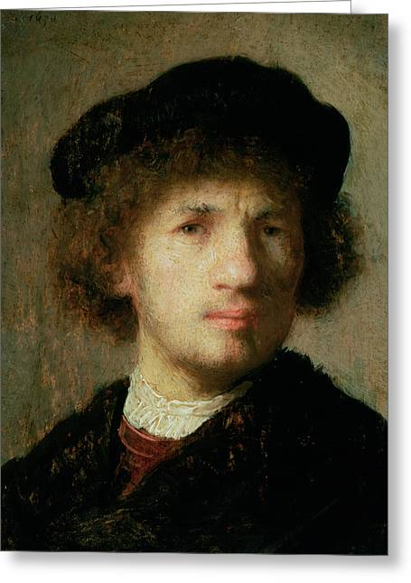 Beret Greeting Cards - Self Portrait Greeting Card by Rembrandt Harmenszoon van Rijn