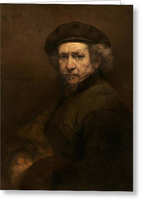 Barock Greeting Cards - Self Portrait Greeting Card by Rembrandt