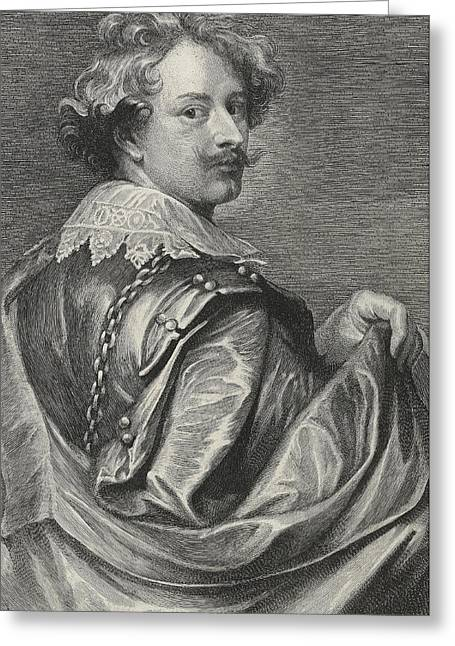 Collar Drawings Greeting Cards - Self Portrait Greeting Card by Sir Anthony van Dyck