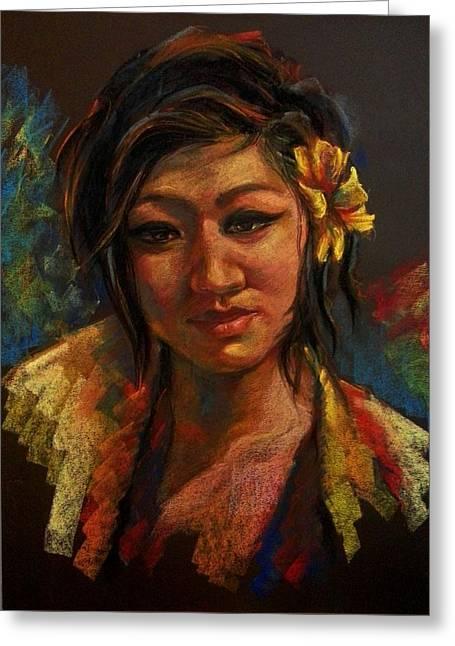 Self-portrait Pastels Greeting Cards - Self -portrait Greeting Card by Sunita Shakya