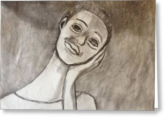 Shading Drawings Greeting Cards - Self portrait Greeting Card by Elaina Rochelle
