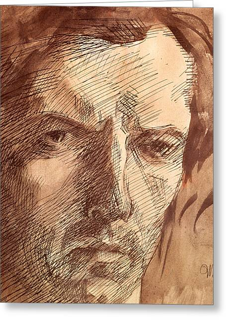 Nose Drawings Greeting Cards - Self Portrait Greeting Card by Umberto Boccioni
