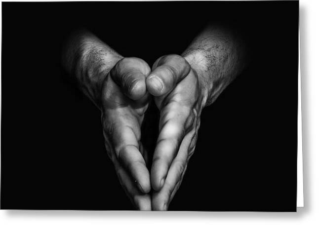 Praying Hands Greeting Cards - Self-Portrait VI Greeting Card by Jorge Jimenez