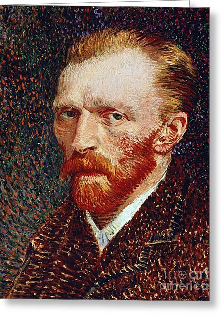 Collar Greeting Cards - Self-Portrait Greeting Card by Vincent van Gogh