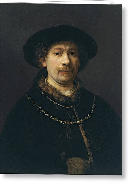 Self-portrait Greeting Cards - Self Portrait Wearing a Hat and Two Chains Greeting Card by Rembrandt van Rijn