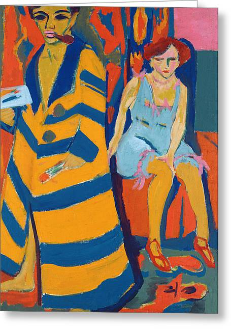 Atelier Greeting Cards - Self Portrait with a Model Greeting Card by Ernst Ludwig Kirchner
