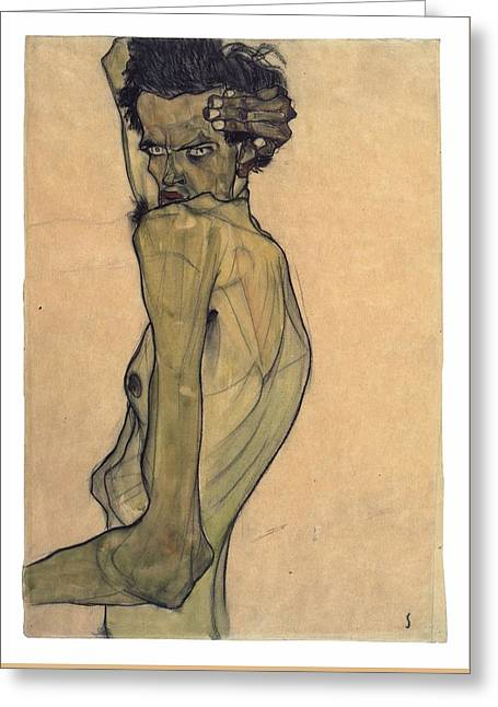 Self-portrait With Arm Twisted Above Head Greeting Card by Egon Schiele