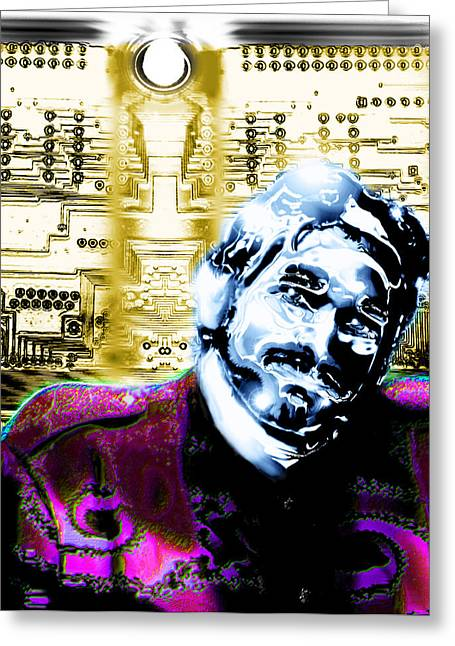 Circuit Drawings Greeting Cards - Self Portrait with Circuits Greeting Card by Del Gaizo