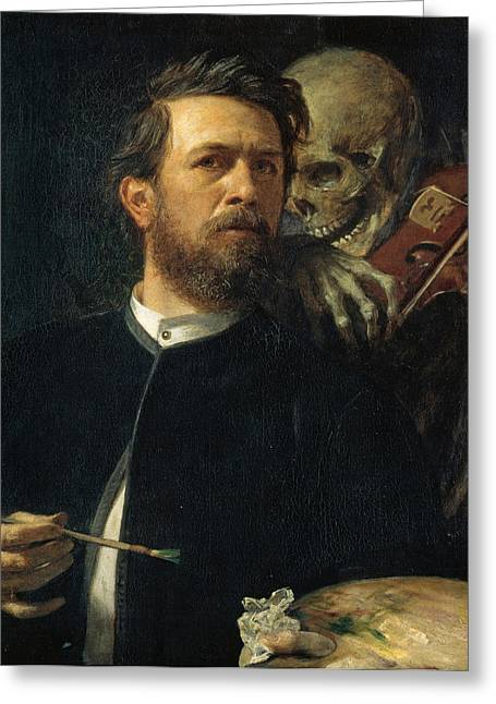 Self-portrait Greeting Cards - Self Portrait With Death Greeting Card by Arnold Bocklin