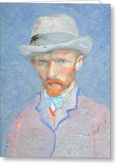 Contemporary Symbolism Greeting Cards - Self-Portrait with gray felt hat Greeting Card by Vincent van Gogh