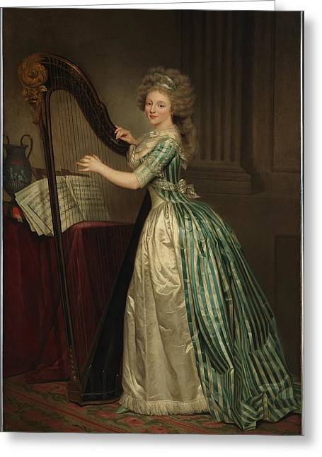 Self-portrait Greeting Cards - Self Portrait with Harp  Greeting Card by Rose Adelaide Ducreux