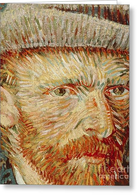 Literary Greeting Cards - Self-Portrait with hat Greeting Card by Vincent van Gogh