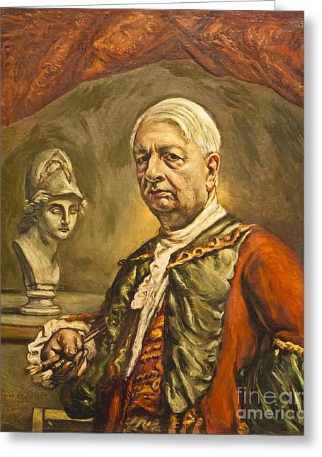 Chirico Greeting Cards - Self portrait with head of Minerva by Giorgio de Chirico Greeting Card by Roberto Morgenthaler