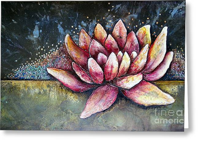 Lotus Flowers Greeting Cards - Self Portrait with Lotus Greeting Card by Shadia Zayed
