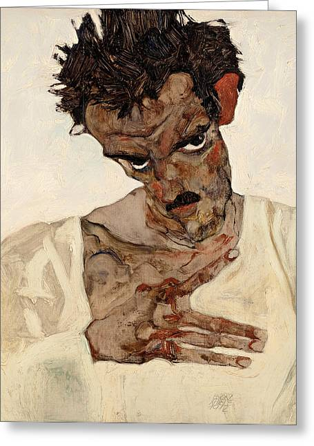 Vintage Painter Greeting Cards - Self Portrait with Lowered Head Greeting Card by Egon Schiele