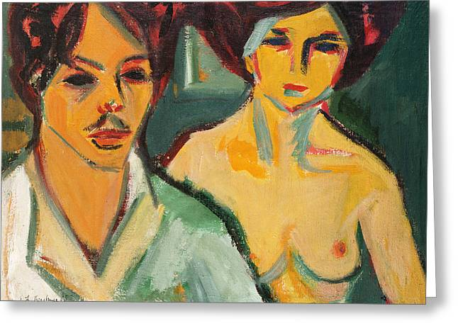 Kirchner Greeting Cards - Self Portrait with Model Greeting Card by Ernst Ludwig Kirchner