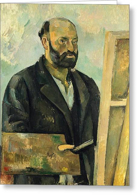 Artist Collection Greeting Cards - Self Portrait with Palette Greeting Card by Paul Cezanne