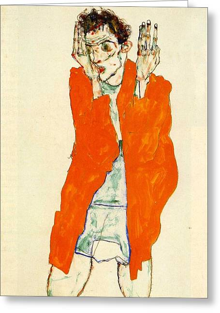 Neo Expressionist Greeting Cards - Self-Portrait with Raised Arms Greeting Card by Egon Schiele