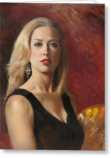 Portraits Oil Greeting Cards - Self Portrait with Red Lipstick Greeting Card by Anna Bain