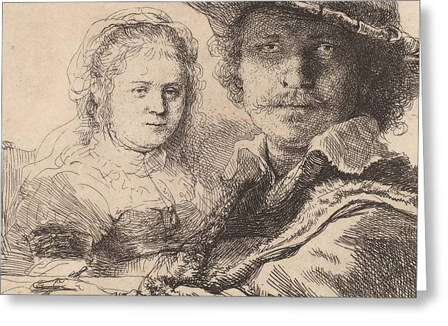 Pen And Paper Drawings Greeting Cards - Self Portrait with Saskia Greeting Card by Rembrandt