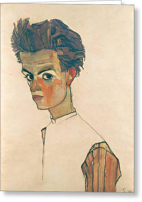 Striped Shirt Greeting Cards - Self-Portrait with Striped Shirt Greeting Card by Egon Schiele