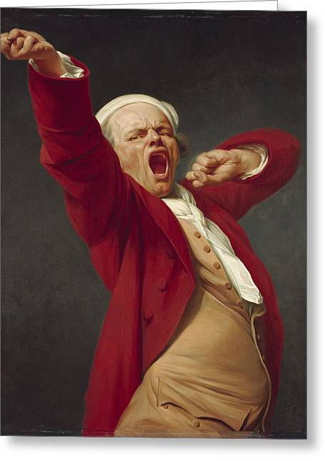 Evening Wear Greeting Cards - Self-portrait, Yawning, 1783  Greeting Card by Joseph Ducreux