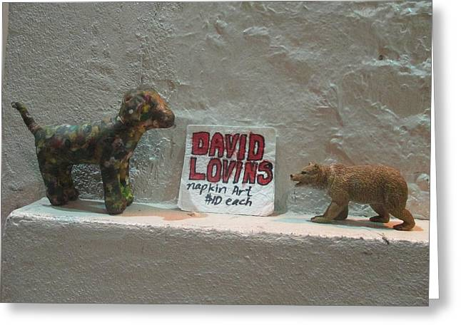 Toy Dogs Mixed Media Greeting Cards - Self Promotional David Lovins Napkin Art with Toys Greeting Card by David Lovins