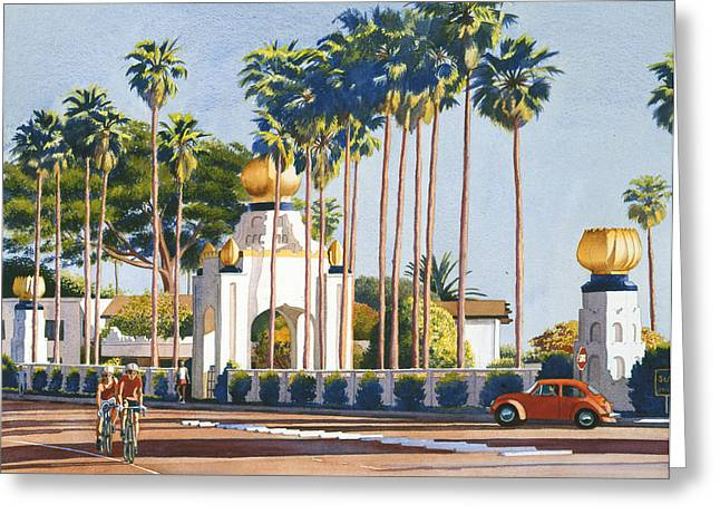 Volkswagen Greeting Cards - Self Realization Fellowship Encinitas Greeting Card by Mary Helmreich