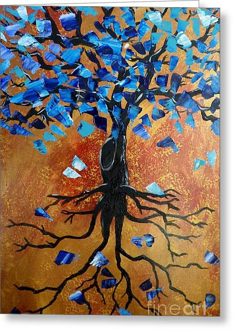 Tree Roots Paintings Greeting Cards - Self Tree Greeting Card by Rebecca Shreve