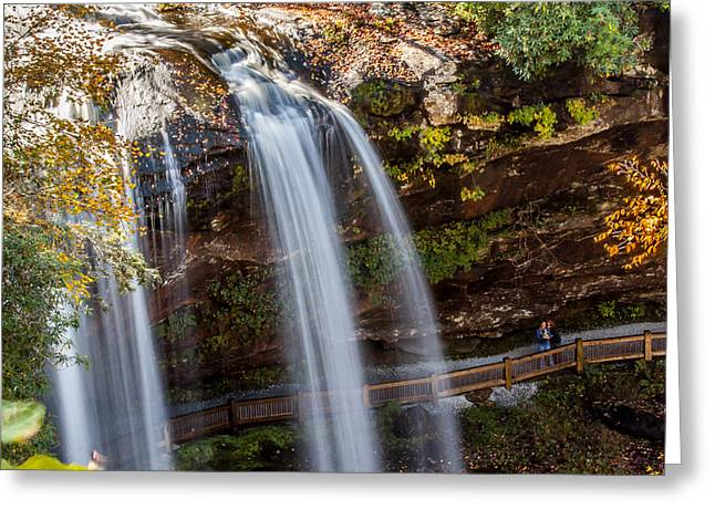 Downtown Franklin Greeting Cards - Selfie at the Waterfall Greeting Card by Donna Vasquez